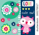cute owl card design vector... | Shutterstock .eps vector #183270017