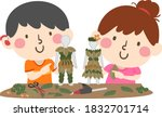 illustration of kids  with one... | Shutterstock .eps vector #1832701714