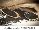 Black Cumin  On Wooden Spoon....