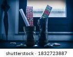 Small photo of Sinterklaas, children put down the shoe, early in the morning, typical Dutch party tradition, get presents, sweets and a letter in your shoe, (put down the shoe) December 5, Santa claus, Schoen zetten