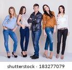 happy joyful group of friends | Shutterstock . vector #183277079