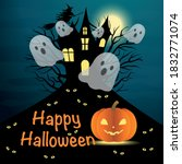 flying boo ghosts from haunted...   Shutterstock .eps vector #1832771074