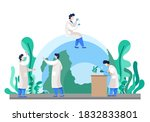 laboratory assistants conduct... | Shutterstock .eps vector #1832833801