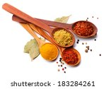 Spices. Spice In Wooden Spoon....