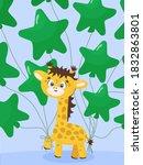 Cute Yellow Giraffe With Green...