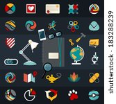 Set of flat vector logo icons design illustration financial service items, web and technology development, business management symbol, S E O and Social media marketing.Editable For Your Design.