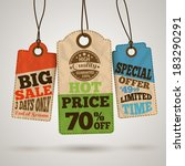 collection of cardboard sale... | Shutterstock .eps vector #183290291