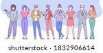 diverse people  men and women...   Shutterstock .eps vector #1832906614