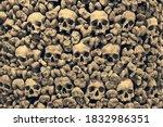 Wall Of Human Skulls And Bones