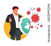 vector fight virus. cartoon man ... | Shutterstock .eps vector #1832995204
