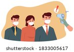 checked body temperature with...   Shutterstock .eps vector #1833005617