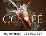 cold brew coffee ads with retro ... | Shutterstock .eps vector #1833017917