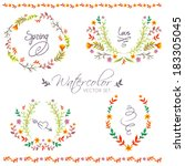 watercolor hand drawn floral... | Shutterstock .eps vector #183305045
