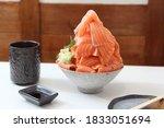 Salmon Sashimi With Soy Sauce ...