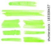 set of green marker strokes.... | Shutterstock .eps vector #183308657
