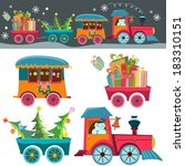 funny christmas background with ... | Shutterstock . vector #183310151