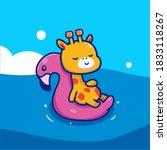 Cute Giraffe Floating With...