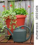 Watering Can By Flower Pots On...