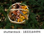 Wooden Basket Full Of Different ...