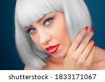 beautiful woman wearing blonde... | Shutterstock . vector #1833171067