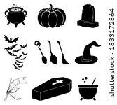 halloween silhouette vector set.... | Shutterstock .eps vector #1833172864