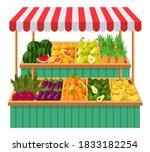 vegetables supermarket stall.... | Shutterstock .eps vector #1833182254