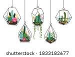 doodle hanging terrarium....   Shutterstock .eps vector #1833182677