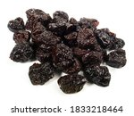 Dried Plums On White Background