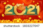 happy chinese new year 2021... | Shutterstock .eps vector #1833227047