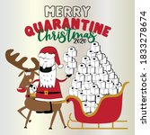 merry quarantine christmas 2020 ... | Shutterstock .eps vector #1833278674