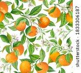 mandarin fruit seamless... | Shutterstock .eps vector #1833306187