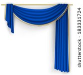 blue curtain on the white... | Shutterstock .eps vector #183331724