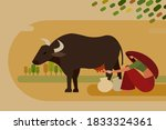 illustration of a village woman ...   Shutterstock .eps vector #1833324361