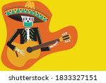 day of the dead skeleton party... | Shutterstock .eps vector #1833327151