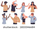 people listen music  enjoy... | Shutterstock .eps vector #1833346684