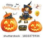 halloween watercolor clipart... | Shutterstock . vector #1833375934