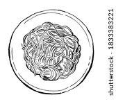 spaghetti. pasta painted...   Shutterstock .eps vector #1833383221