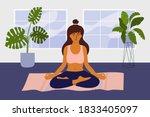 mindfulness meditation or... | Shutterstock .eps vector #1833405097