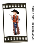 a little boy dressed up as a cowboy - stock photo