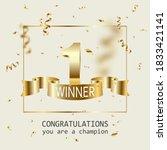 winner banner. 1 place in... | Shutterstock .eps vector #1833421141