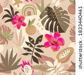 seamless tropical summer... | Shutterstock .eps vector #1833440461