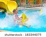 child on water slide at... | Shutterstock . vector #183344075