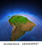Surface of the Planet Earth viewed from a satellite, focused on South America, Andes cordillera and Amazon rainforest. 3D illustration - Elements of this image furnished by NASA.