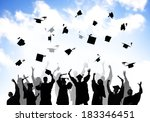 group of graduating students... | Shutterstock . vector #183346451