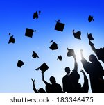 graduating students throwing... | Shutterstock . vector #183346475