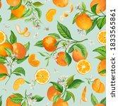 mandarin watercolor floral... | Shutterstock .eps vector #1833565861