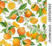 mandarin floral background.... | Shutterstock .eps vector #1833565864