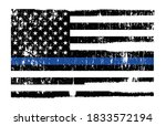 grunge police flag thin blue... | Shutterstock .eps vector #1833572194