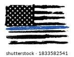 grunge police flag thin blue... | Shutterstock .eps vector #1833582541