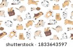 Pattern Of Funny Cats On A...